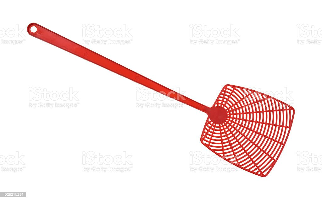 Red fly swatter stock photo