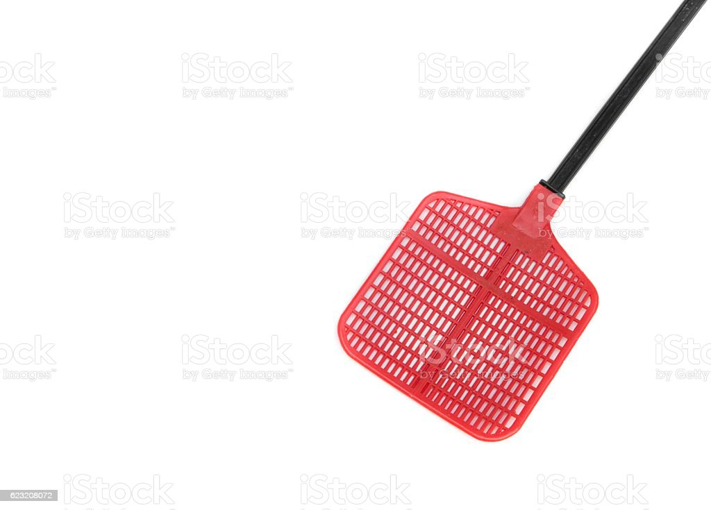 Red fly swatter. Single red flyswatter  on white background stock photo