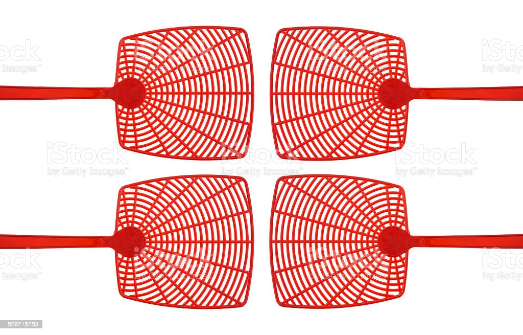 Red fly swatters stock photo