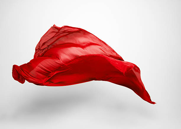 red flying fabric flying fabric - high speed studio shot, art object, design element floating fabric stock pictures, royalty-free photos & images