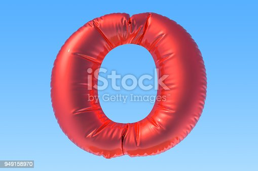 istock Red foil balloon letter O, 3D rendering 949158970