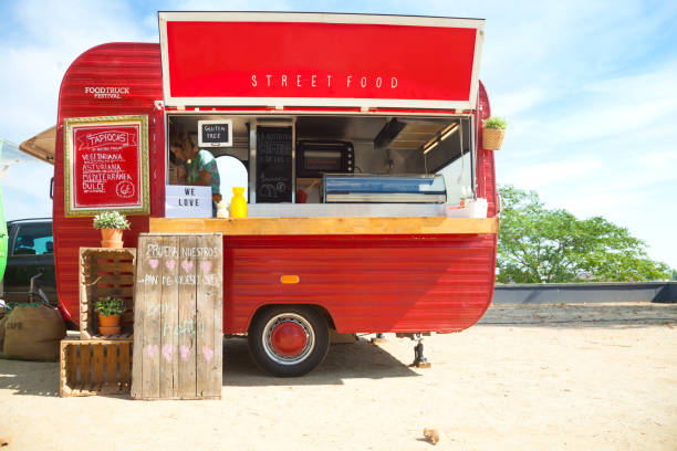 Red Food truck Red Food truck food truck stock pictures, royalty-free photos & images