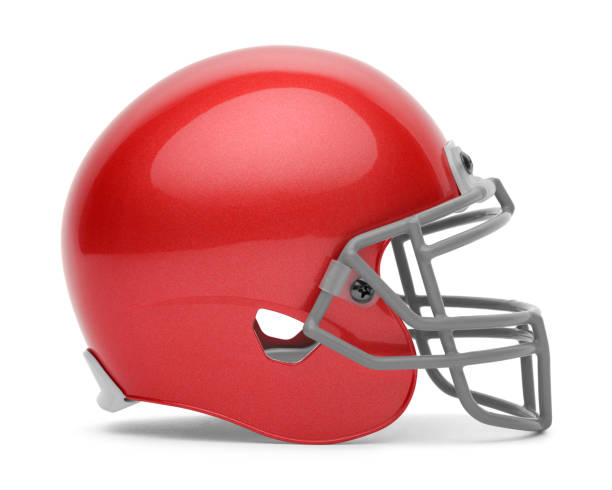 Red Football Helmet Blue Football Helmet Side View Isolated on a White Background. american football uniform stock pictures, royalty-free photos & images