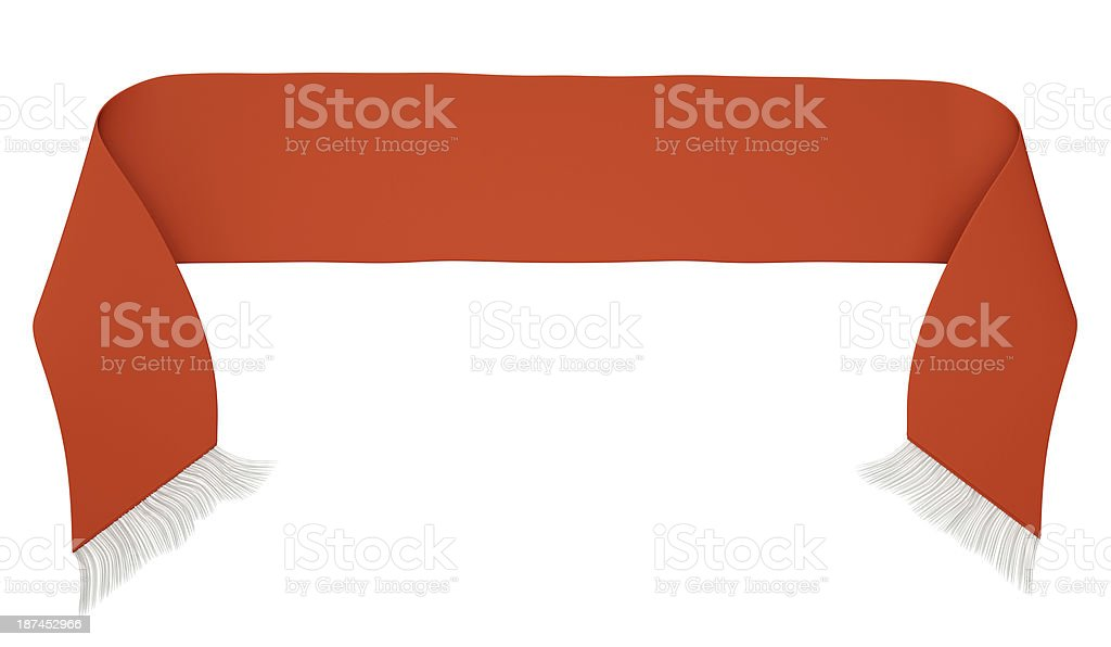Red football scarf against white background stock photo