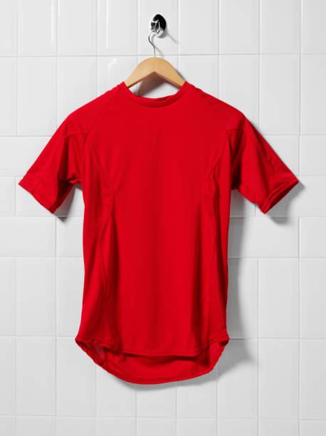 red football shirt - sports uniform stock photos and pictures