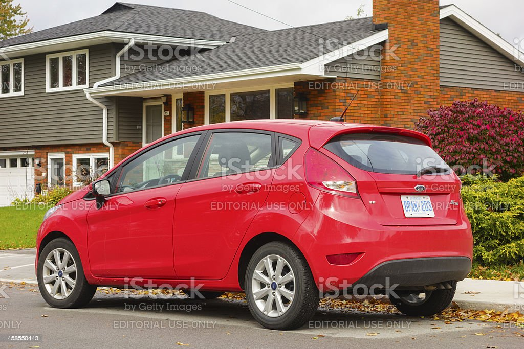 Red Ford Fiesta stock photo