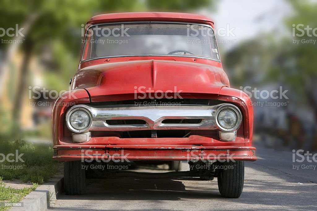 red ford truck stock photo