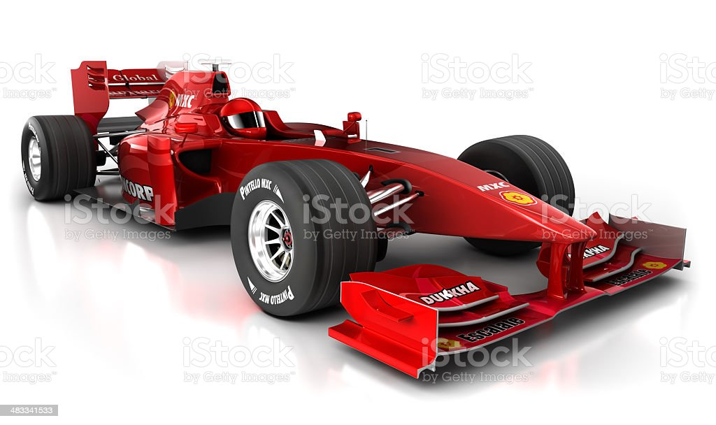 3D red Formula 1 car with clipping path royalty-free stock photo