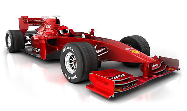 3D red Formula 1 car with clipping path stock photo