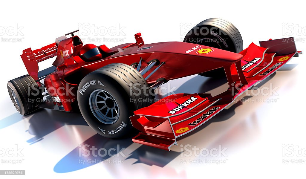 Red formula 1 racing car against white background stock photo