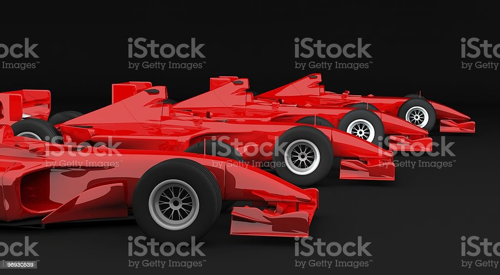 Red formula 1 racing cars royalty-free stock photo