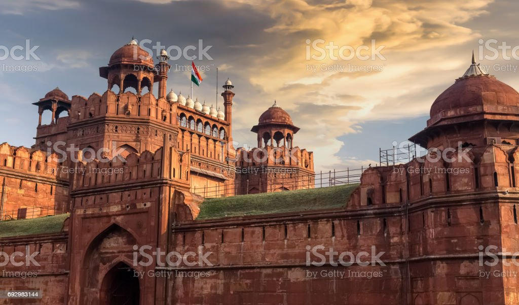 Red Fort Delhi - A historic red sandstone fort city in Delhi designated as the UNESCO World Heritage site. stock photo