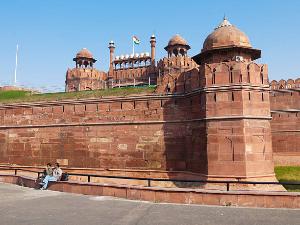 Red Fort during the daytime in Delhi, India stock photo