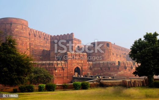 Agra's ancient Red Fort is approximately 2.5 kilometer's from the famous Taj Mahel.