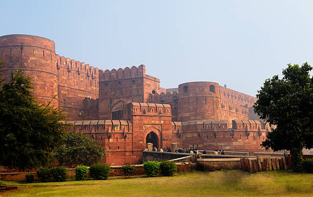 Red Fort in Agra, India Agra's ancient Red Fort is approximately 2.5 kilometer's from the famous Taj Mahel. agra stock pictures, royalty-free photos & images