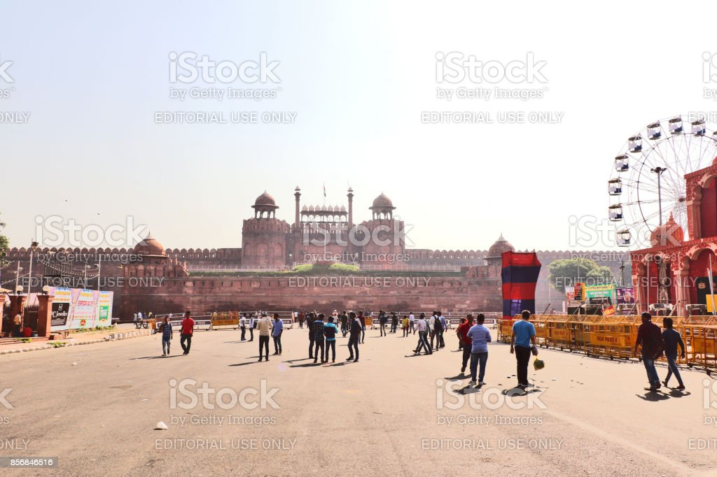 Red Fort, in Old Delhi, UNESCO world heritage site stock photo