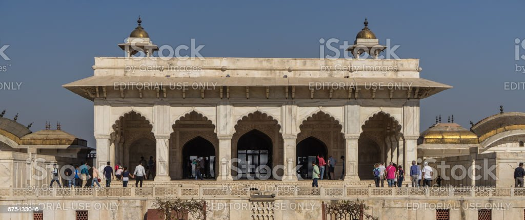Agra, India - Mar 5, 2017. Red Fort is the former imperial residence of the Mughal Dynasty located in Agra India. It about 2.5 km northwest of famous monument the Taj Mahal. royalty-free stock photo