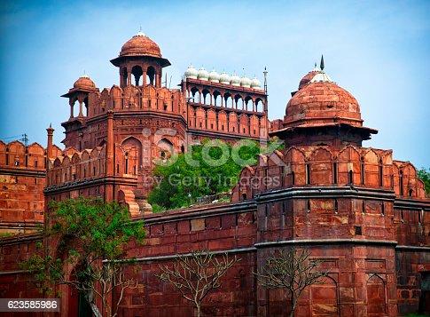 India travel tourism background - Red Fort Lal Qila Delhi - World Heritage Site. Delhi, India