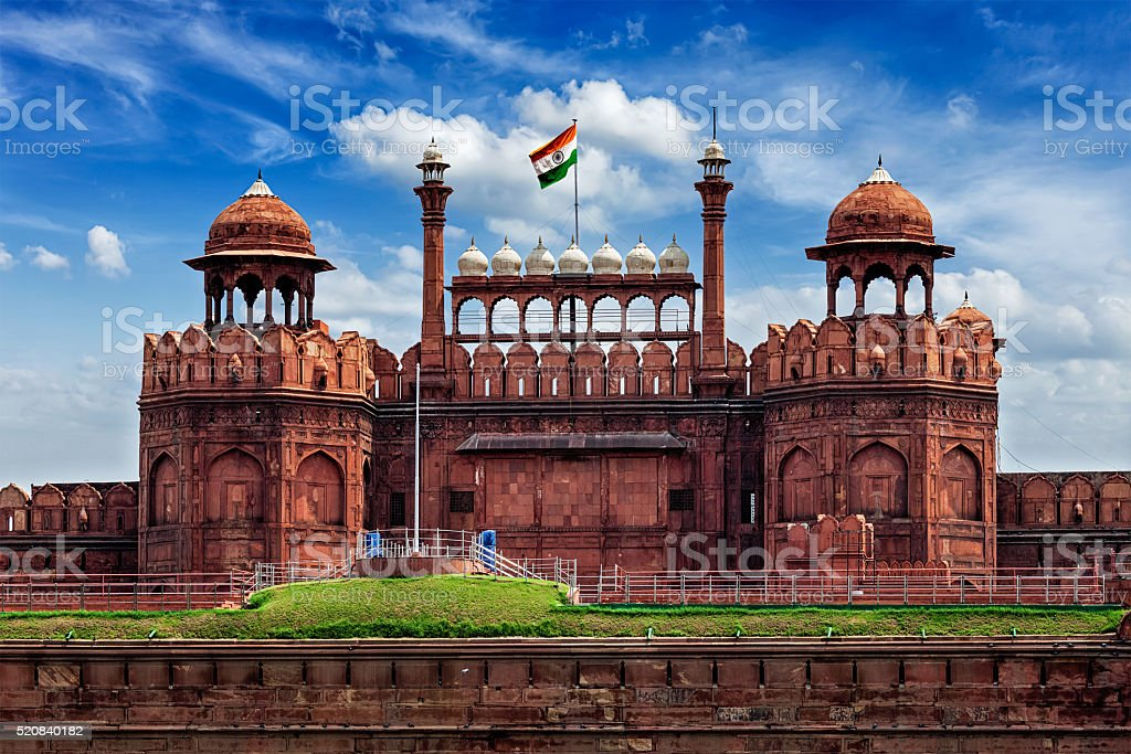 Red Fort Lal Qila with Indian flag. Delhi, India stock photo