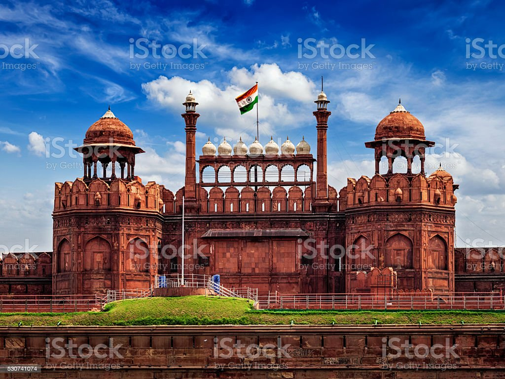 Red Fort Lal Qila With Indian Flag Delhi India Stock Photo