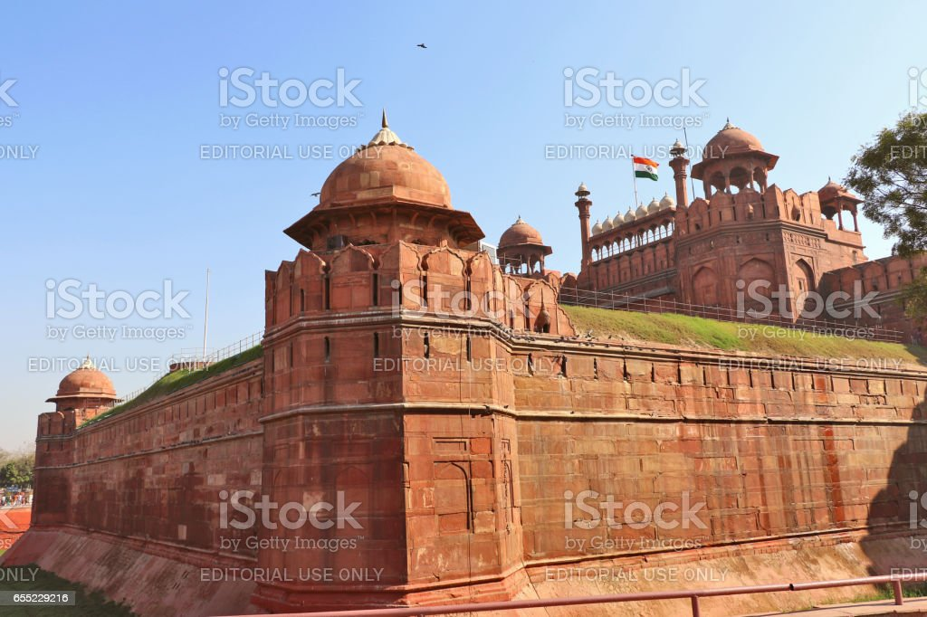 New Delhi, India - February 24, 2017: Red Fort, UNESCO world heritage site, a reminder of the magnificent power of the Mughal emperors and a symbol of glory to the Indian nation too. stock photo