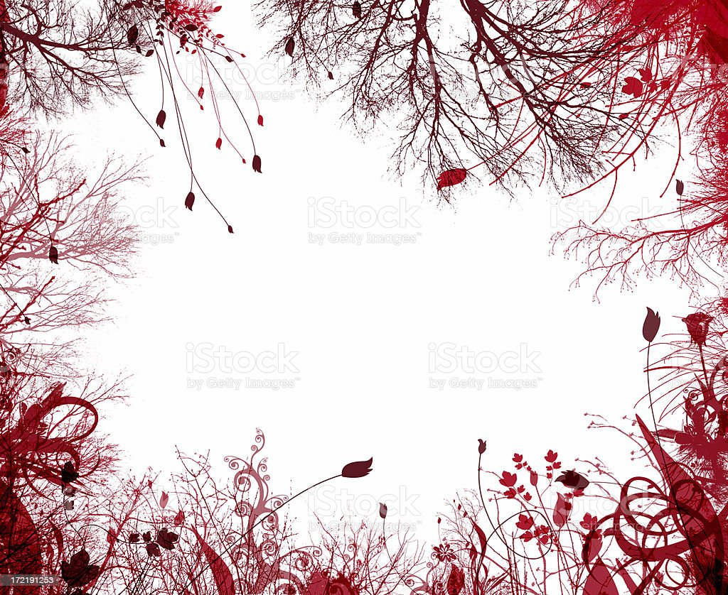 Red Frame Border: Flowers and Trees royalty-free stock photo