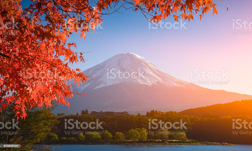 red frame of maple leaf and mt.Fuji stock photo
