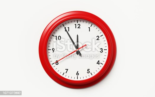Red framed clock on white background. Horizontal composition with clipping path and copy space.