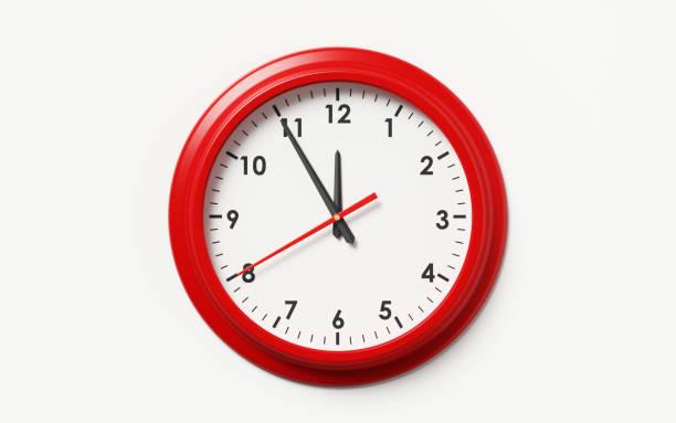rött inramade klocka på vit bakgrund - clock bildbanksfoton och bilder