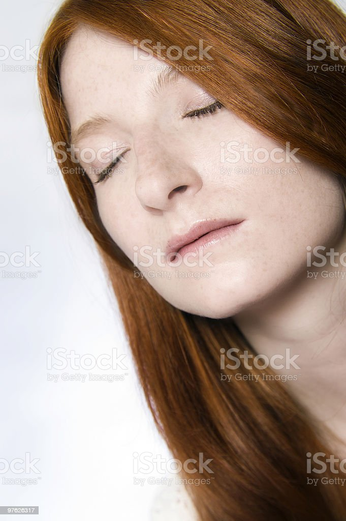 red freckles closed eyes royalty-free stock photo