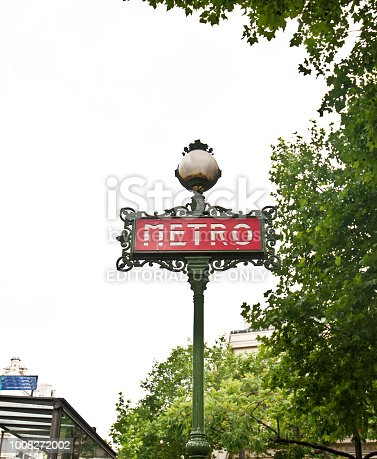 istock Red French Metro Sign, Paris - France 1008272002