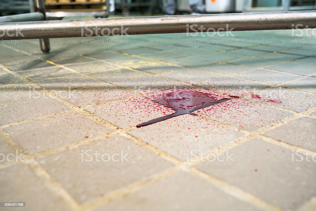 Red fresh blood drips on the floor stock photo