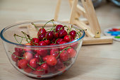Red Fresh Cherries in bowl.