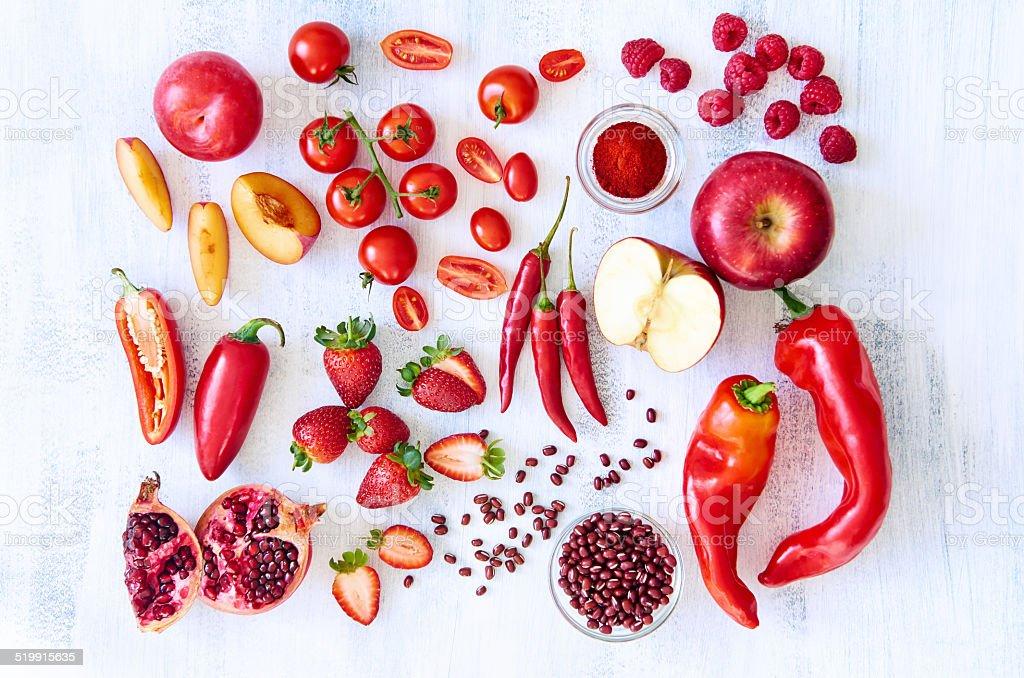 Rote frischem Obst und Gemüse-Gemüse und Obst – Foto