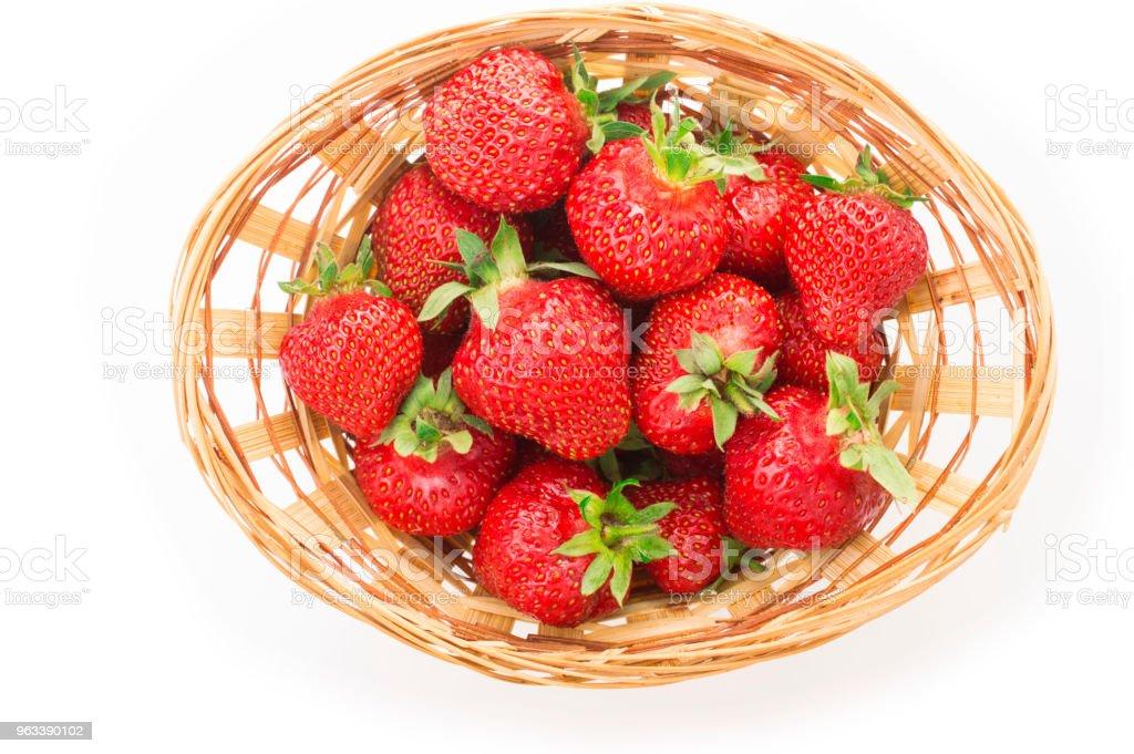 Red fresh strawberry in a bowl on white background - Zbiór zdjęć royalty-free (Bez ludzi)