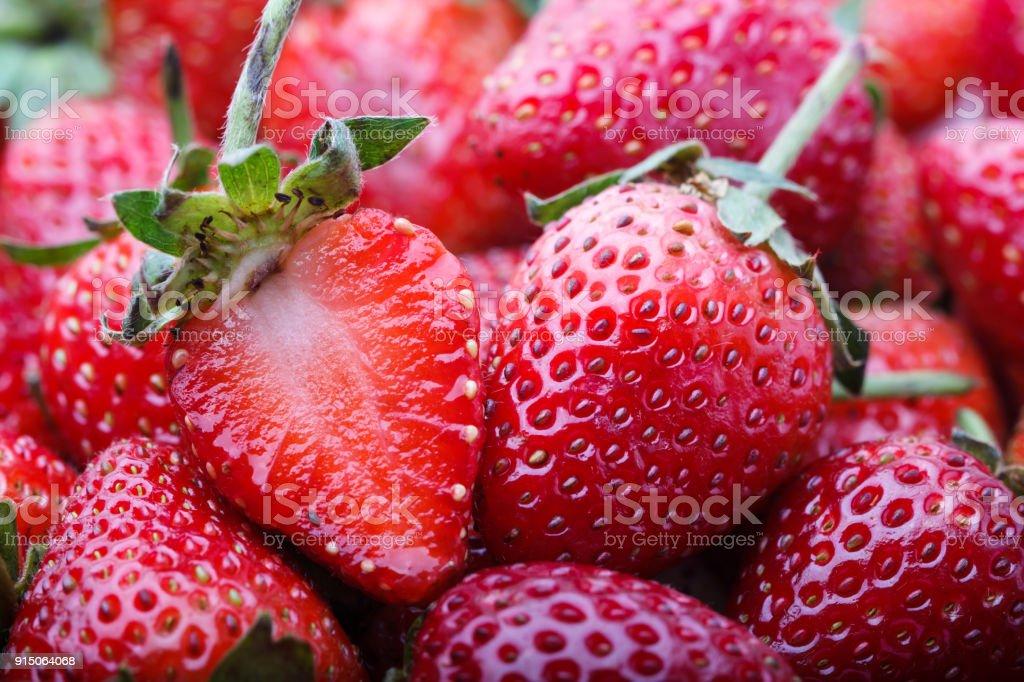 Rote Frsehly geerntet Straberry Hintergrund – Foto
