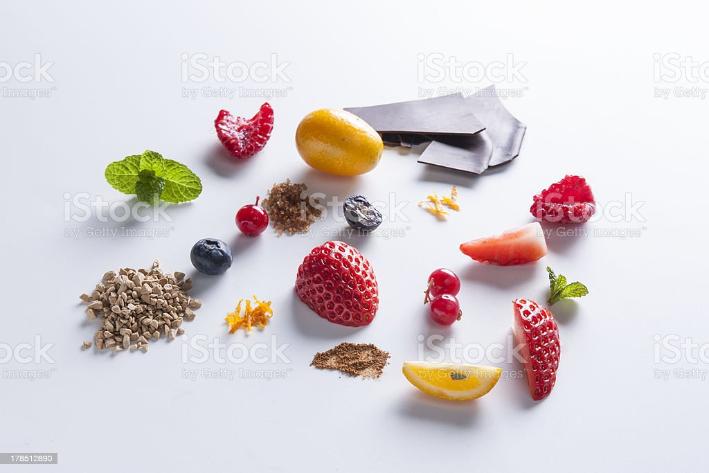 Red fruit and sweet ingredients stock photo