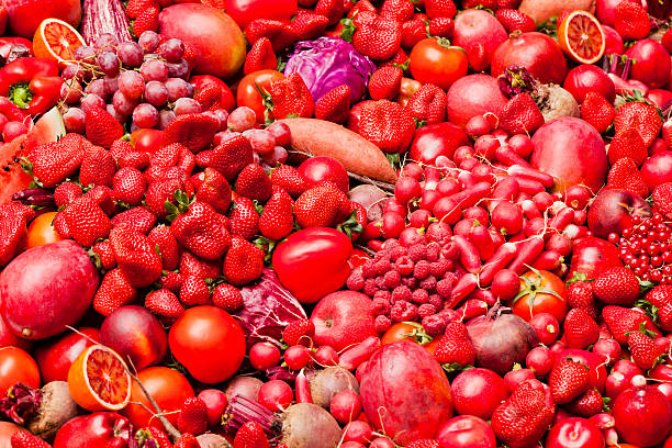 red fruit and vegetables - aluxum stock pictures, royalty-free photos & images