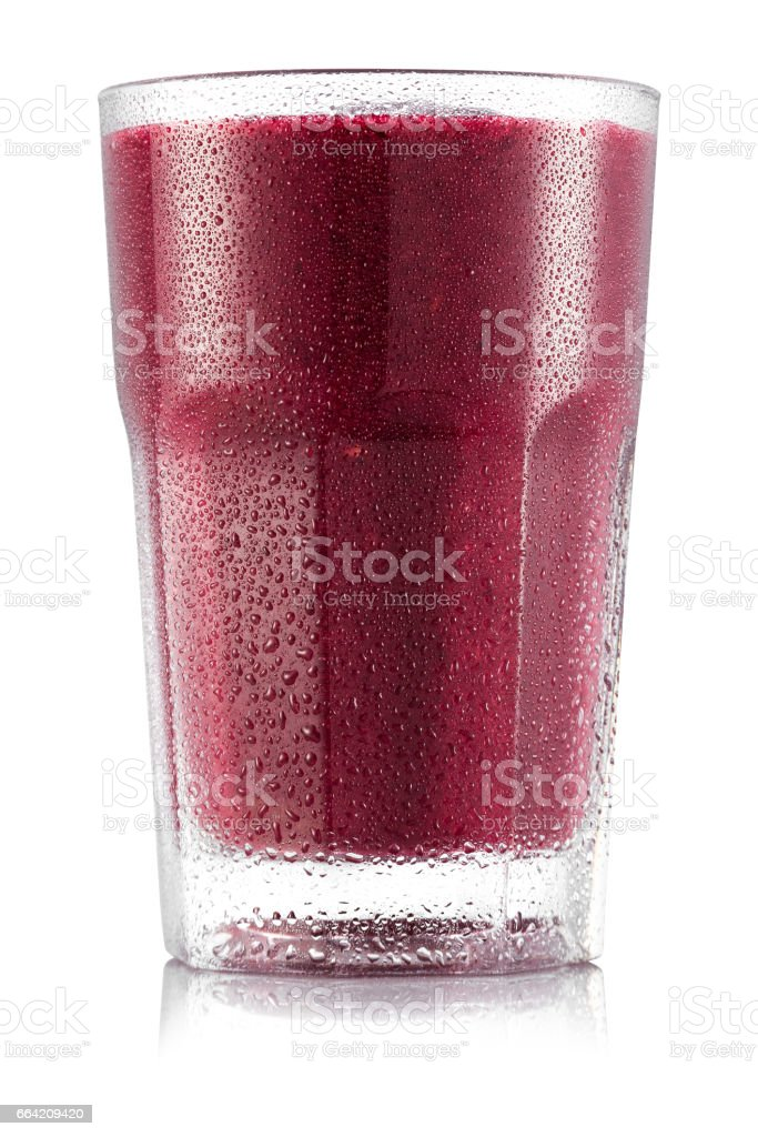 Red fruit smoothie in glass stock photo