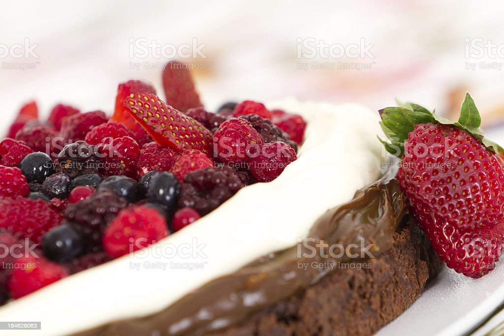 Red fruits, french cream and chocolate dessert royalty-free stock photo