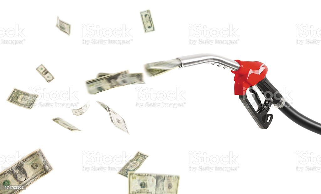 Red fuel pump is wasting money (Dollars) royalty-free stock photo