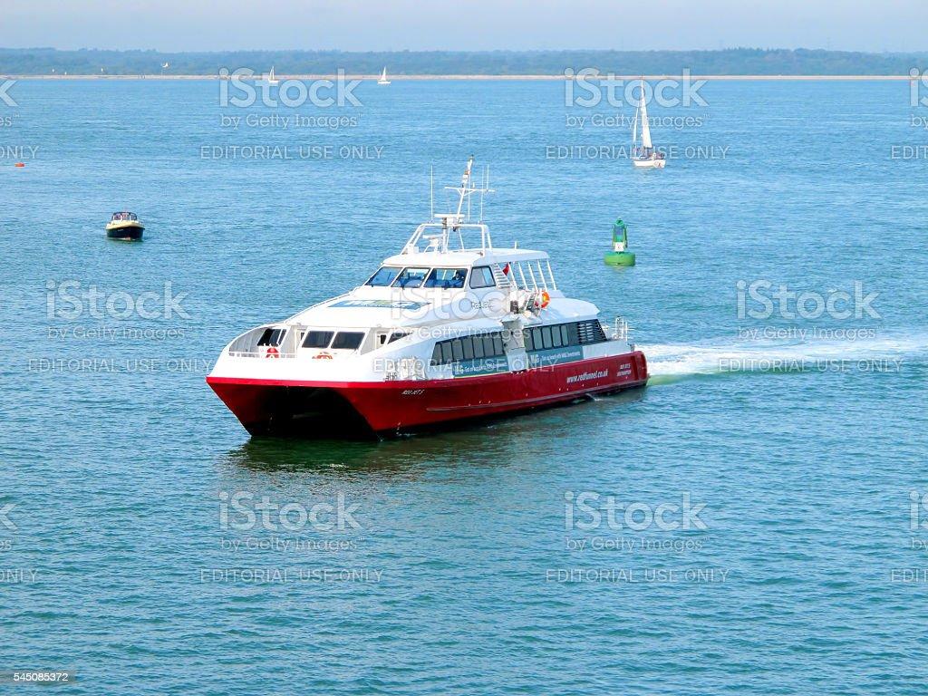 Red Funnel catamaran. stock photo