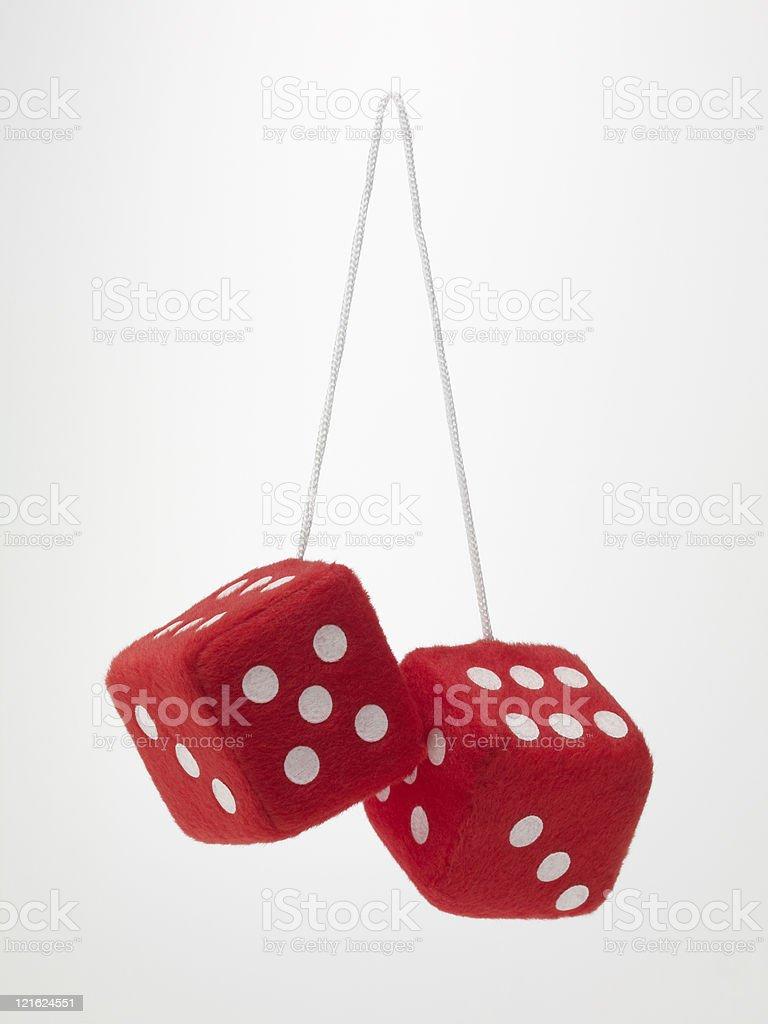 Red fuzzy dice (XXXL) stock photo