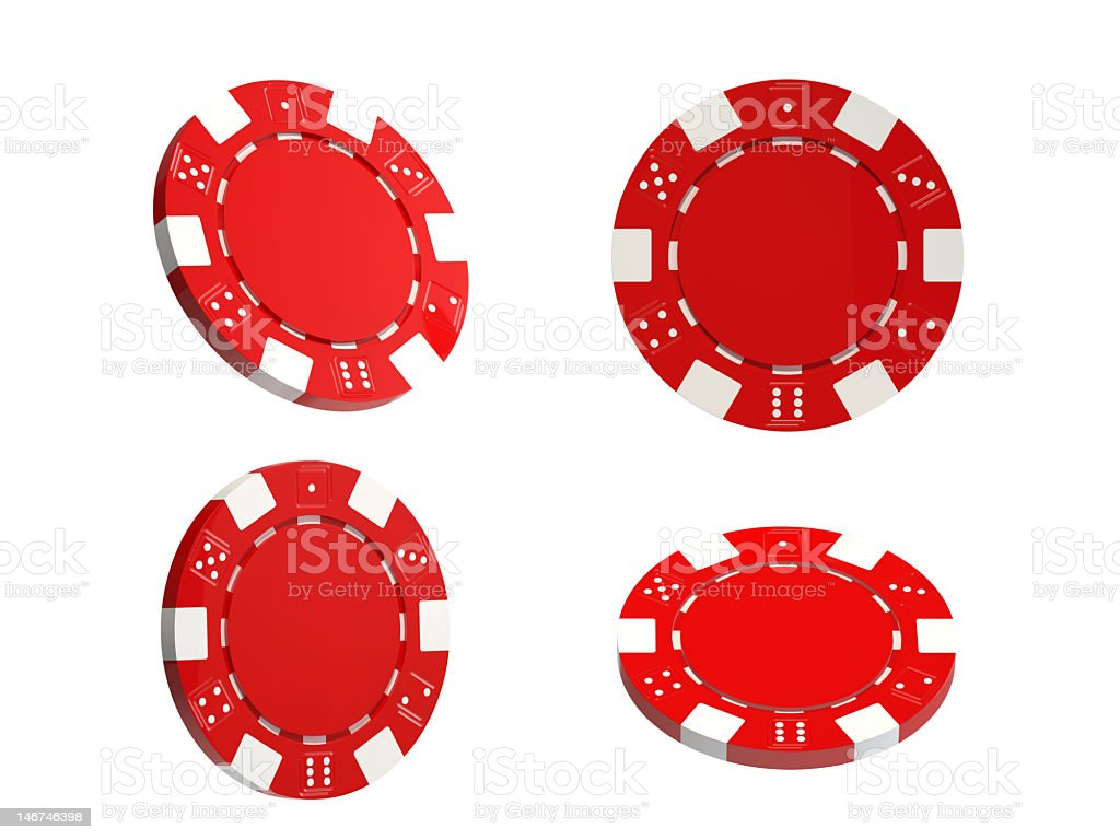 Red gambling chips on white background stock photo