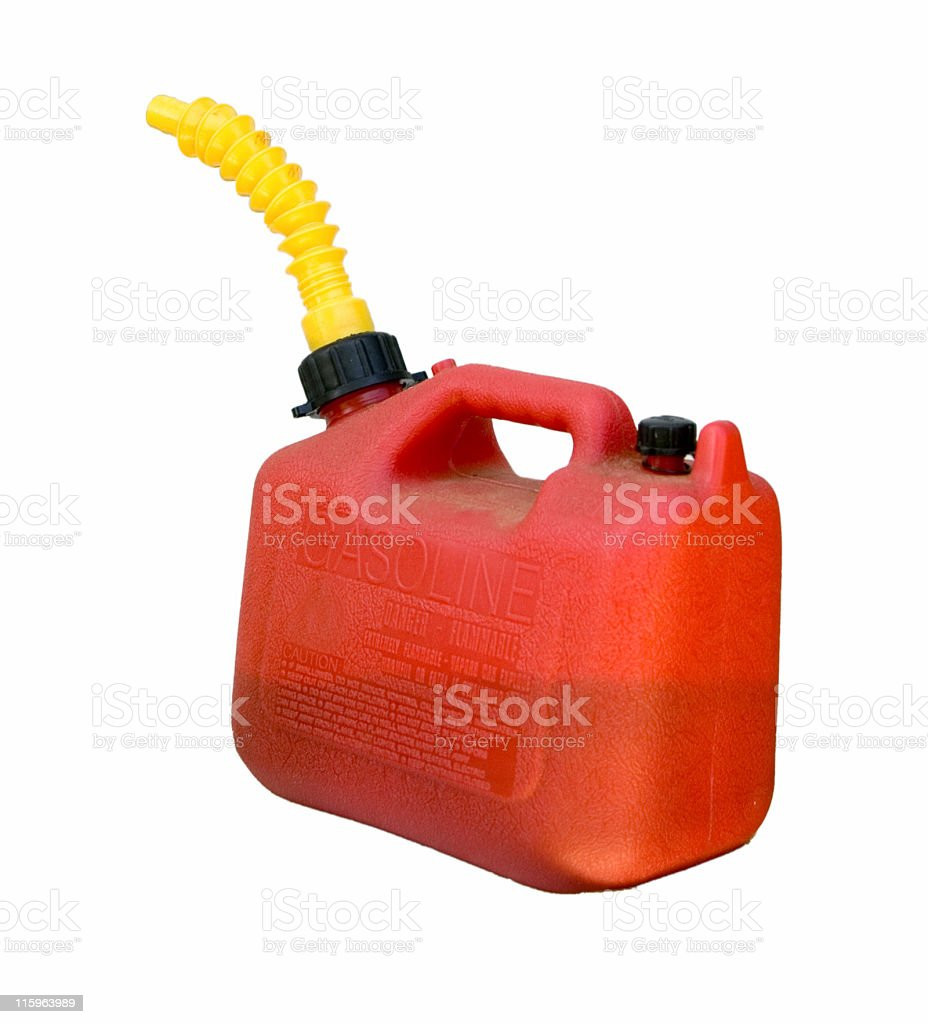 Red Gas Can Isolated stock photo