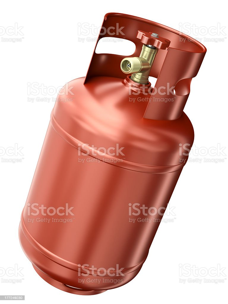 Red gas container isolated on a white background stock photo
