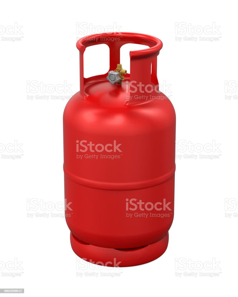 Red Gas Cylinder Isolated stock photo