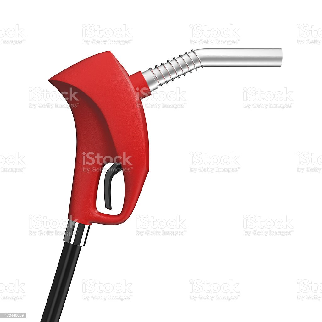 Red gas pump nozzle on white background royalty-free stock photo