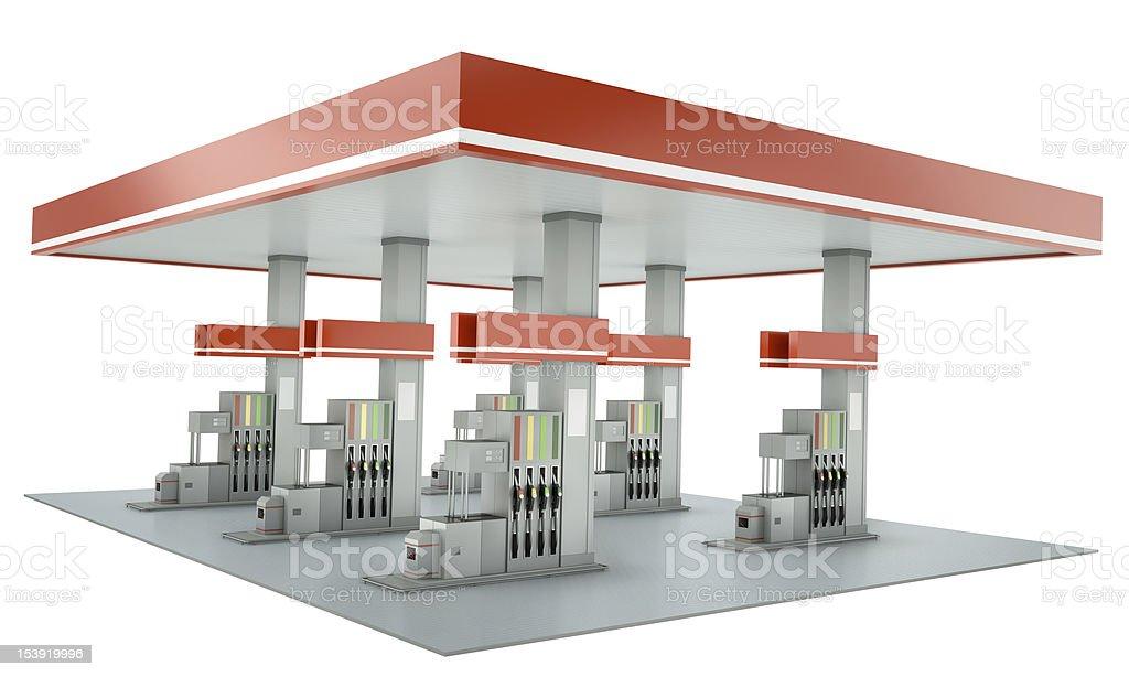 Red gas station Gebäude, isoliert auf weißem Hintergrund – Foto