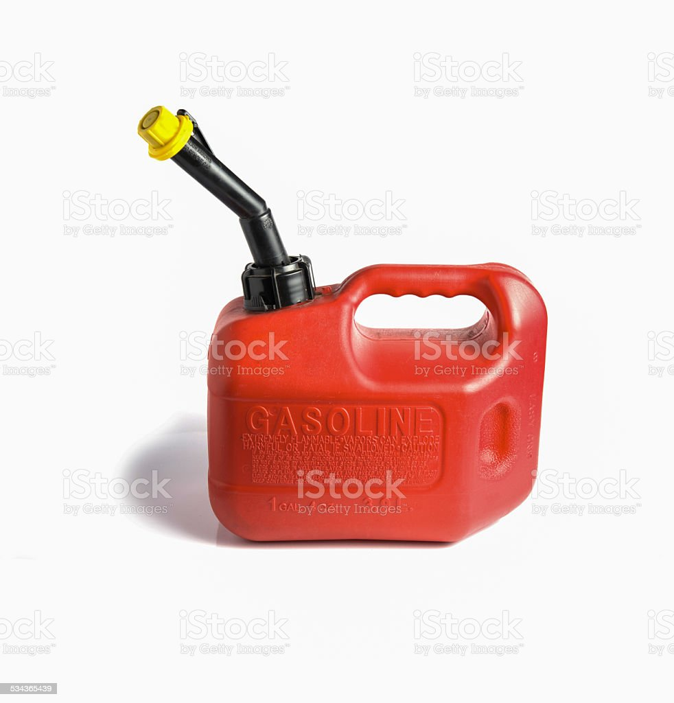 Red gasoline Canister on a white background. stock photo